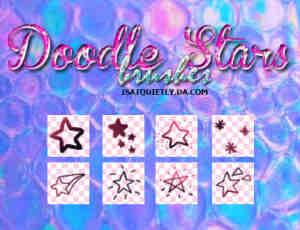 手绘卡通涂鸦星星符号图案Photoshop五角星笔刷