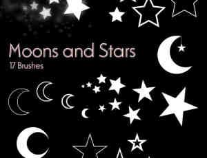 星星、五角星符号、月亮图形Photoshop笔刷素材