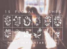 15种漂亮的植物印花鲜花图案PS笔刷素材
