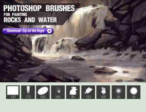 岩石和水笔触的CG插画笔刷Photoshop数字艺术绘画笔刷(含有工具预算TPL文件)