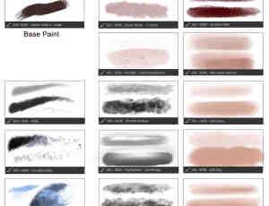27种皮肤纹理类效果CG绘画PS工具预设TPL笔刷素材
