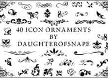 40种漂亮的手绘小清新艺术花纹图案Photoshop植物花纹笔刷