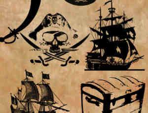 海盗船、海盗宝藏、海底头像Photoshop海底元素笔刷