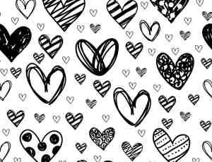卡哇伊童趣涂鸦爱心背景图案PS笔刷素材