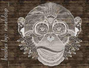 漂亮的黑猩猩猴子花纹图案PS笔刷素材