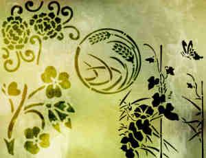 漂亮的手绘印花图案、花纹装饰图案Photoshop笔刷免费下载
