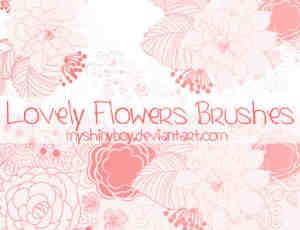 漂亮的鲜花盛开图案、手绘花朵Photoshop印花笔刷