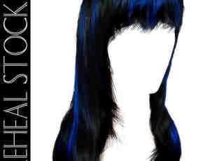 漂亮的深蓝色女式长发发型PS笔刷素材(PSD格式)已抠像!