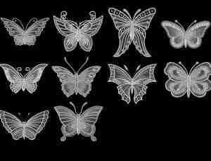镌刻的漂亮蝴蝶印花图案Photoshop蝴蝶纹饰笔刷