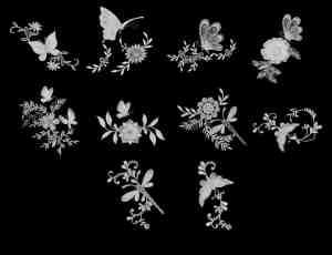 漂亮的镌刻式蝴蝶花纹饰品图案Photoshop笔刷素材
