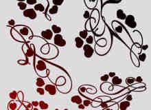 红桃心、爱心、心形花纹图案、印花PS笔刷素材