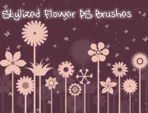 漂亮的矢量图形式鲜花花朵图案Photoshop笔刷素材