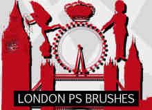 欧洲伦敦城市元素剪影图形Photoshop笔刷素材下载