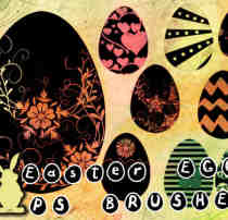 漂亮的花式复活节彩蛋图案Photoshop笔刷素材