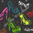手绘花式高跟鞋图案Photoshop卡哇伊女式鞋子笔刷