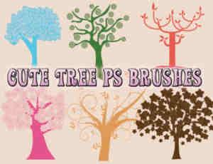 漂亮的创意艺术大树图案Photoshop笔刷
