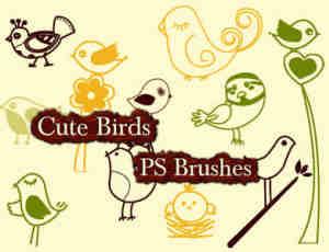 可爱的呆萌小鸟图案Photoshop卡哇伊美图笔刷