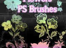 非主流时尚花朵图案Photoshop笔刷素材下载
