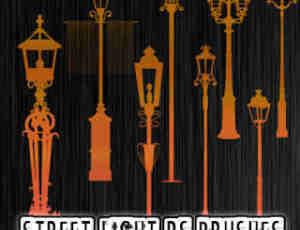 欧式传统街道路灯剪影图形Photoshop笔刷素材