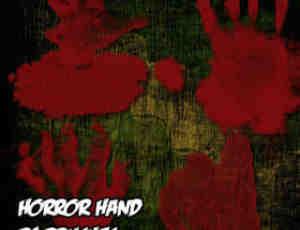 恐怖的血手印、血手掌Photoshop笔刷手掌印素材