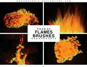 熊熊火焰特效、燃烧的火焰火苗图形Photoshop火焰笔刷素材下载