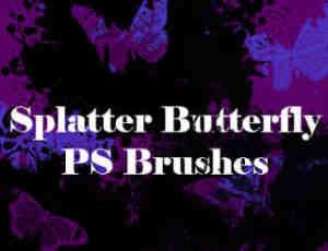 油漆喷溅式蝴蝶花纹图案Photoshop油漆笔刷