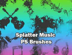 非主流油漆喷溅效果音乐元素符号Photoshop装饰笔刷