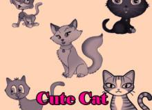 可爱卡通小猫咪图案PS笔刷素材