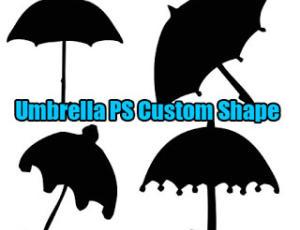 卡哇伊的雨伞图形Photoshop自定义形状素材 .csh 下载