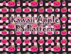 可爱的卡哇伊苹果造型图案Photoshop填充图案文件底纹素材 .pat 下载
