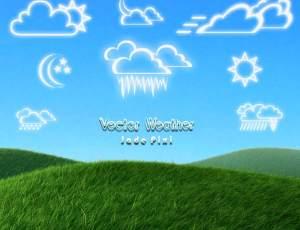 可爱卡哇伊的天气图案、乌云、太阳、月亮手绘图形PS呆萌笔刷