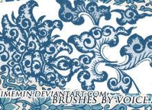 手绘植物印花图案素材PS笔刷下载