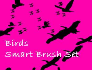 飞鸟剪影、列队的大雁PS鸟轮廓笔刷