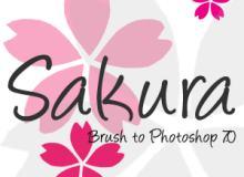 简单的日本樱花花纹图案PS笔刷素材