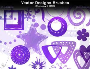 漂亮的鲜花、星星、三角、爱心等图案PS花纹装饰笔刷
