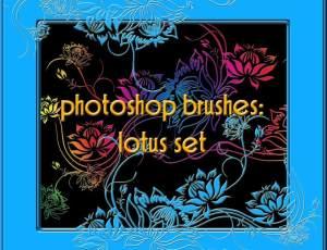 精美漂亮的手绘莲花图案PS花纹印花笔刷素材
