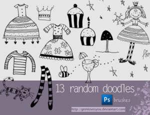 13种可爱童趣涂鸦元素少女童装、公主裙、纸杯蛋糕、长筒袜、猫咪等PS美图笔刷