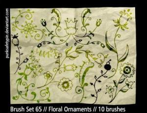 漂亮的艺术植物花纹图案、美丽艺术印花PS笔刷素材下载