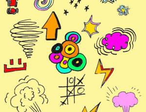 超级卡哇伊涂鸦童趣元素PS美图笔刷素材