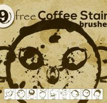 9种圈形污渍、油漆式圆圈痕迹PS笔刷素材