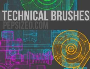 机械科技元素图纸素材PS笔刷下载
