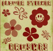可爱小红花、太阳花朵PS笔刷素材下载