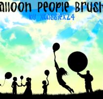 欢乐的儿童、拿着气球的少男少女Photoshop人物剪影、轮廓图案笔刷
