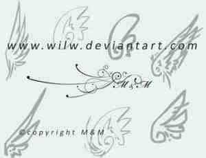 简单的涂鸦式翅膀笔刷