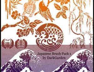 日本式鸟类树木室内装饰笔刷