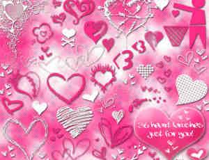 粉色的爱心涂鸦笔刷