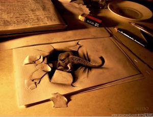 逼真的3D素描手绘艺术创作