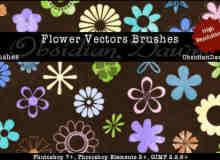 五颜六色的花瓣花形画笔