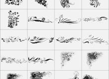 6种花朵边框装饰性笔刷打包下载