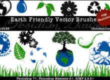 地球环保绿色生态标志符号笔刷